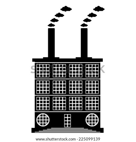 Factory building icon on white background, style of constructivism. Vector illustration. - stock vector