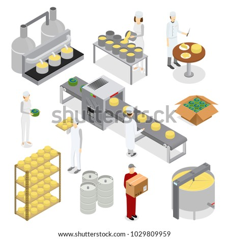 Factory Cheese Production Line Elements and Staff Isometric View Technology Service Process of Cooking Dairy Product Isolated on White Background. Vector illustration of Prepare Cheese