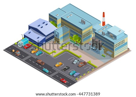 Factory composition of territory with big complex building contains manufacturing  warehouse and office segments isometric vector illustration - stock vector