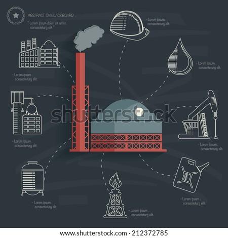 Factory concept on blackboard background,clean vector - stock vector