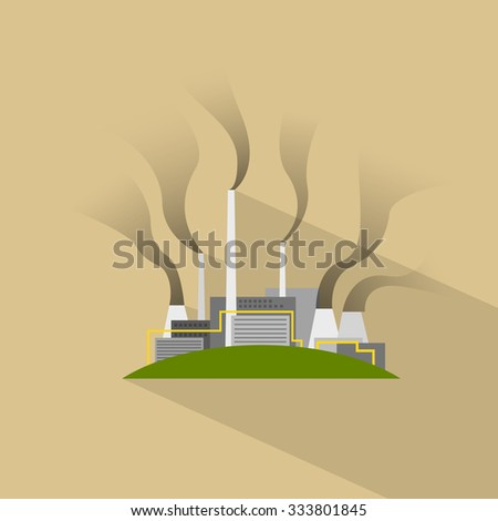 Factory Flat Plant Smoke Pipe Icon Vector Illustration - stock vector