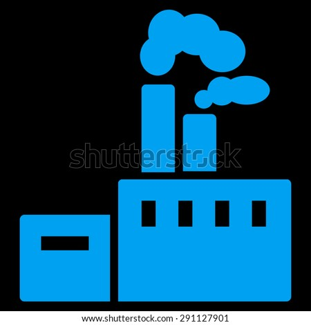 Factory icon from Commerce Set. Vector style: flat symbol, blue color, rounded angles, black background.