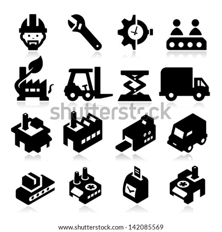 Factory Icons - stock vector