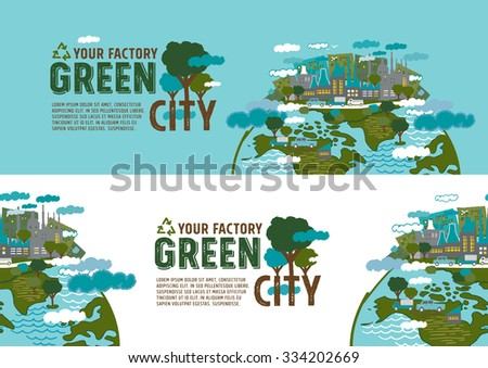 Factory in the green city banner concept - freehand drawing vector Illustration