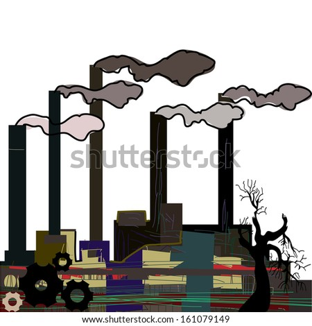 Factory. Industrial building factory, smoke from the chimneys, vector illustration in cartoon stile. - stock vector