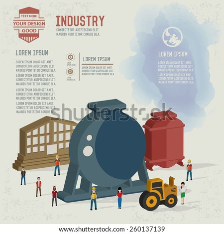 Factory,industrial,character design and blank for your text,clean vector - stock vector