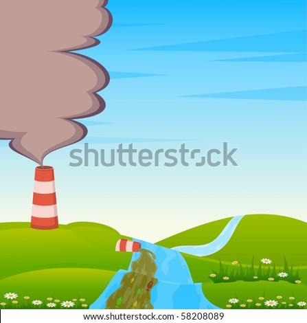 Factory is contaminated by atmosphere and river by poisonous garbage - stock vector