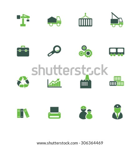 factory, logistics icons, signs, illustrations  - stock vector