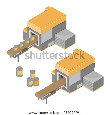 Factory machine processing tins. Factory machine conveyor belt. Industrial machine for manufacture. - stock vector