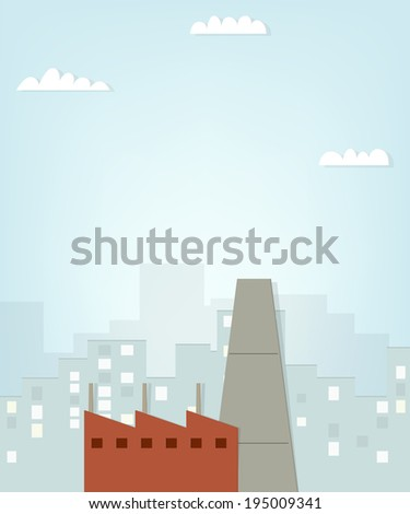 factory on city background. flat paper illustration - stock vector