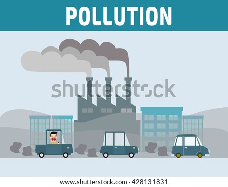 Factory pipe polluting air. Car pollution. Motorist in cities with air pollution. Environmental problems concept. cartoon flat vector illustration. - stock vector