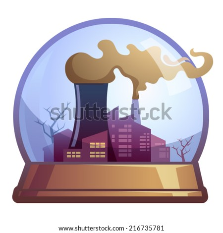 Factory pipes with smoke. - stock vector
