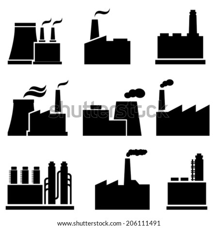 Factory, plant and industrial buildings - stock vector