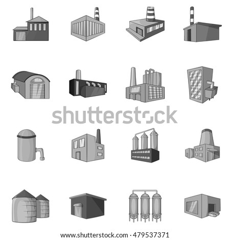 Factory, plant icons set in black monochrome style. Industrial buildings set collection vector illustration