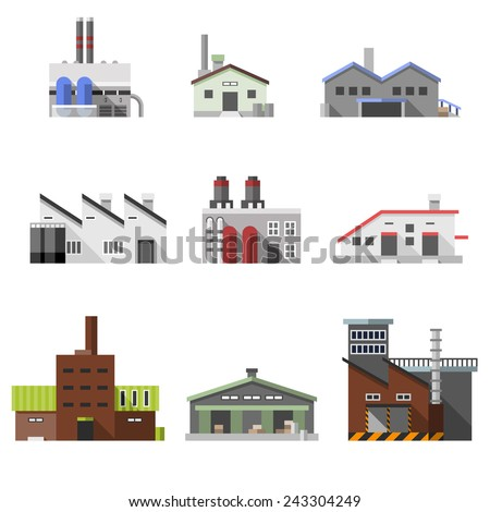 Factory power electricity industry manufactory buildings flat decorative icons set isolated vector illustration - stock vector