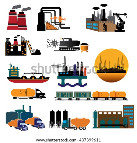 Factory set isolated on white background. Factory icon in the flat style. Industrial factory building. Factory concept. Manufacturing power factory building. Vector illustration. - stock vector
