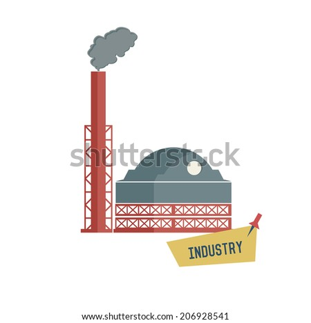 Factory symbol on white background,Retro colour concept,clean vector  - stock vector