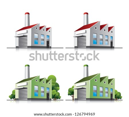 Factory vector icons in cartoon style. - stock vector