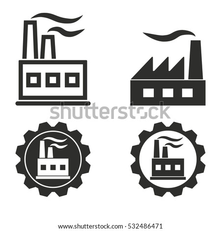Factory Vector Icons Set Illustration Isolated For Graphic And Web Design