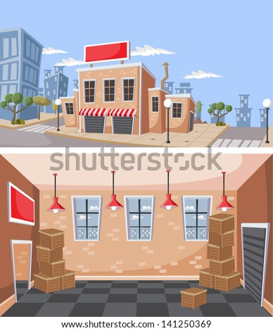 Factory warehouse in the city. Interior of a Storehouse with wooden boxes / crates.  - stock vector
