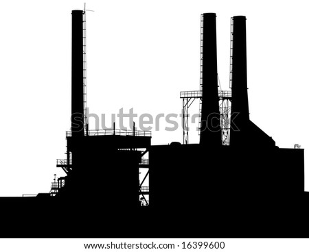 Factory with Smokestacks Silhouette - stock vector