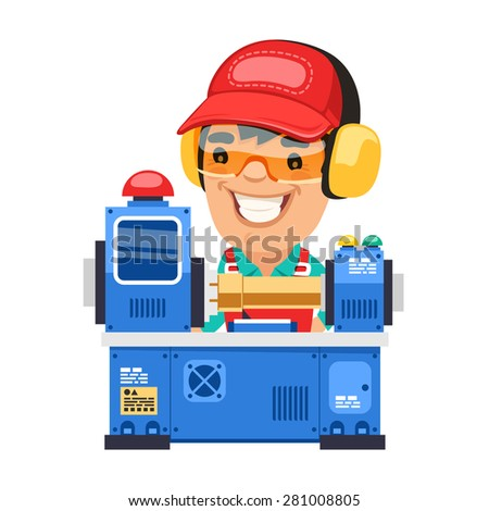 Factory Worker is Working on Lathe Machine. Isolated on white background. - stock vector