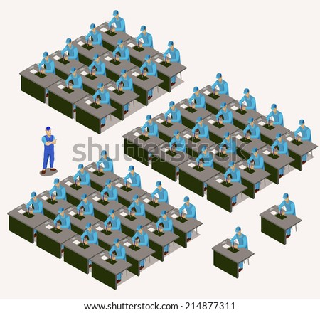 factory workers isometric. man work with soldering on electronic factory. set of people series - stock vector