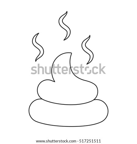 Faeces icon in outline style isolated on white background. Dog symbol stock vector illustration.