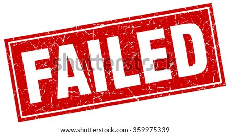 failed red square grunge stamp on white - stock vector