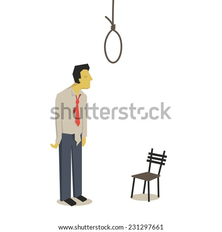Failure businessman thinking and considering to commit suicide with hanging rope.  - stock vector