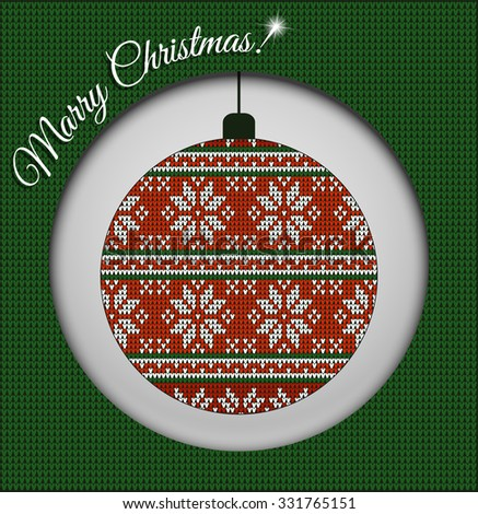 Fair Pattern sweater design, wool knitted texture on the Christmas tree ball. Red and green Knitting Ornament, crochet - stock vector