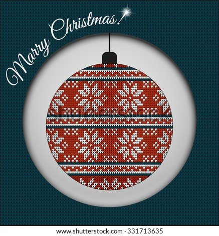 Fair Pattern sweater design, wool knitted texture on the Christmas tree ball. Red Knitting Ornament, crochet - stock vector