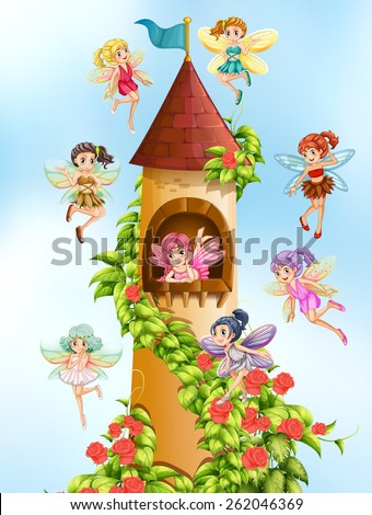 Fairies flying around the castle tower - stock vector