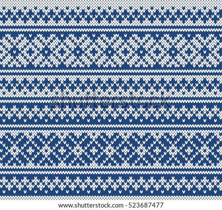 Fairisle Jacquard Seamless Knitting Pattern Stock Vector 523687477