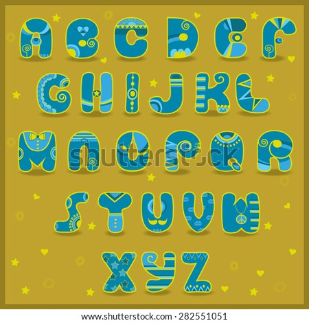 Fairy Alphabet. Funny blue and yellow letters. Vector Illustration