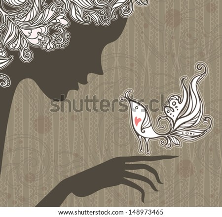Fairy and the Nightingale. Elegant graphic design. Night Fairy and passionate nightingale. - stock vector