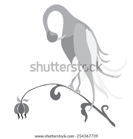 Fairy bird on a white background in gray colors.