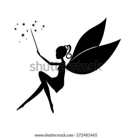 Fairy black silhouette with a magic wand. Fairy sitting. Stencil fairy. Vector Fairy with a magic wand  isolated on white background. - stock vector