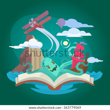 Fairy book. Vector flat illustration - stock vector