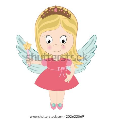 Fairy girl cartoon with magic wand white background - stock vector