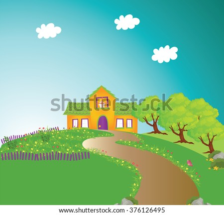 Fairy house and trees on sunny day.Rural scene.