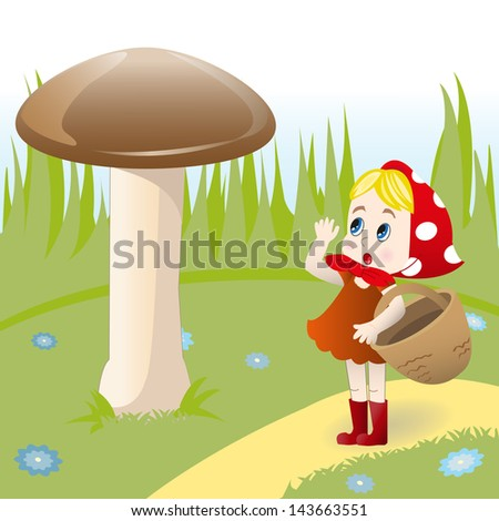 Fairy illustration of little girl with basket which found large mushroom - stock vector