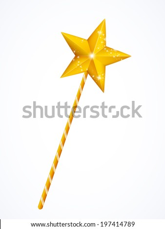 Fairy magic wand with star isolated on white background, vector illustration - stock vector