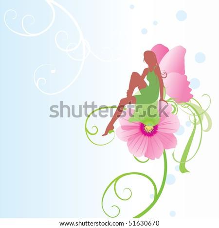 fairy on the flower - stock vector