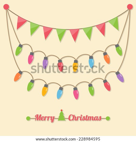 fairy party Christmas light bulbs, Christmas tree and flags hanging on light brown background. vector. - stock vector