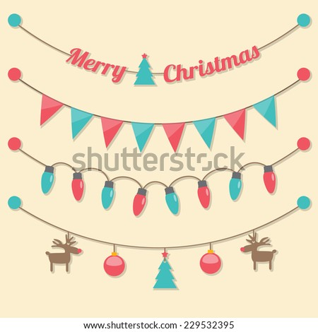 fairy party Christmas light bulbs, Christmas tree, Christmas balls, reindeer, red and green flags hanging on light brown background. vector. - stock vector