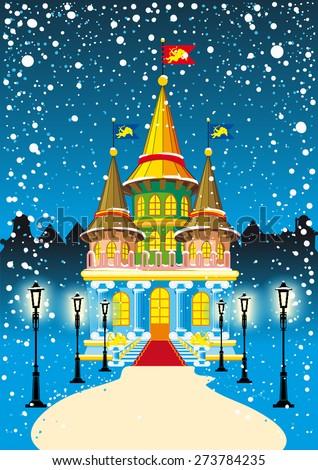 fairy princess castle at night during snowfall - stock vector