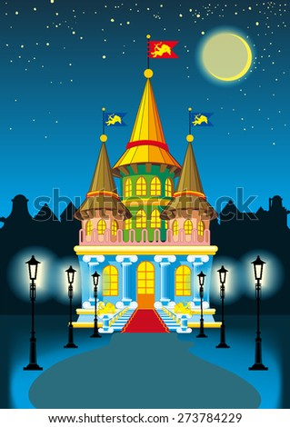 fairy princess castle at night in the moonlight and lanterns - stock vector