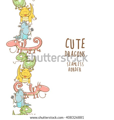 Fairy seamless border with cute cartoon dragons on white  background. Vector image. - stock vector