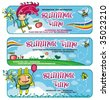 Fairy sunny banners for kids. - stock vector